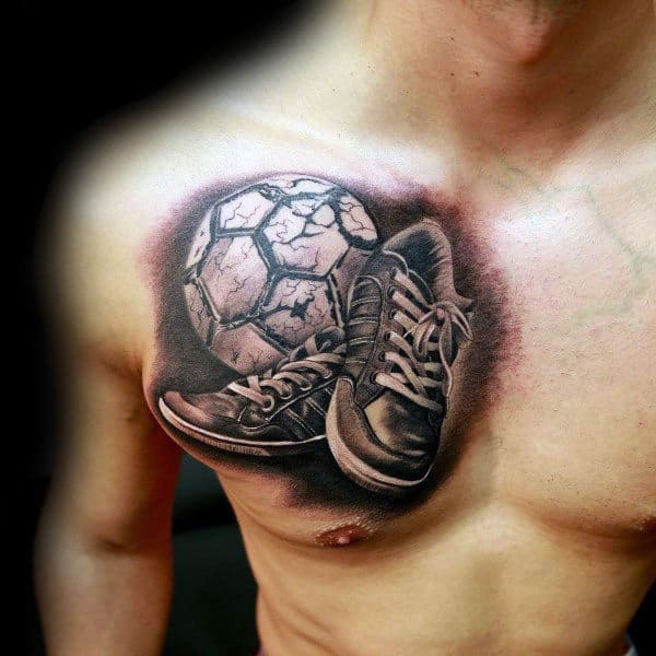 3d Shows With Soccerball Guys Chest Tattoo
