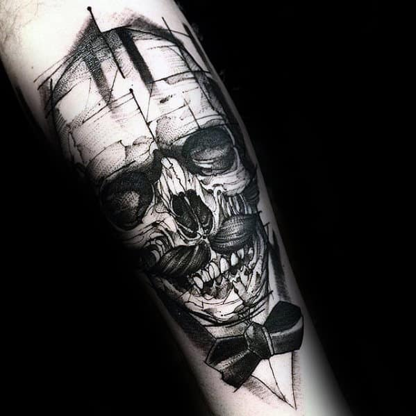3d Sketched Skull With Mustache And Bow Tie Mens Forearm Tattoo