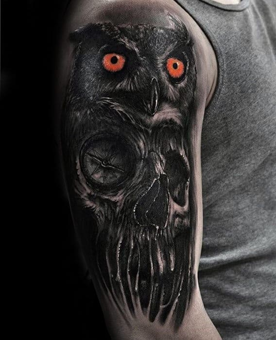 3d Skul With Owl Different Mens Arm Tattoos