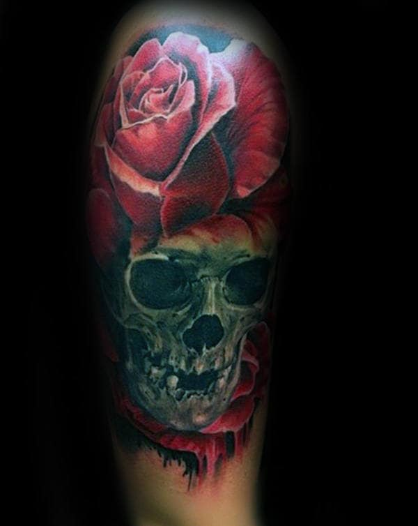 3d Skull And Red Realistic Flower Rose Male Tattoo Designs