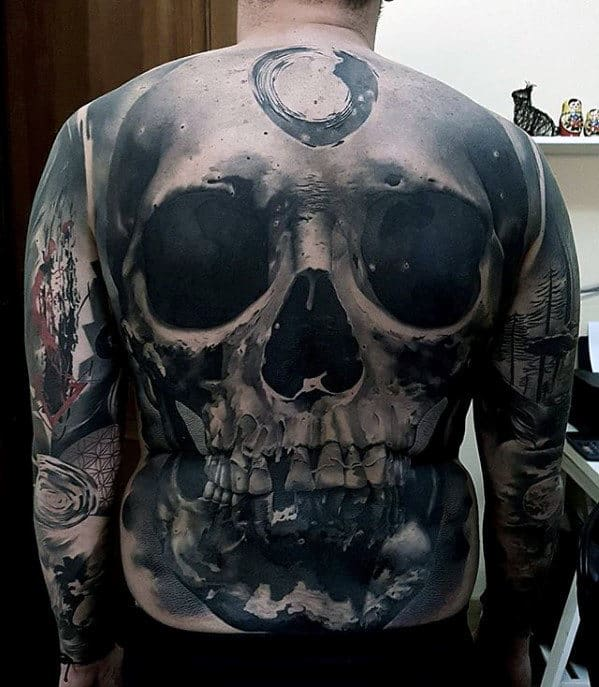 3d Skull Badass Guys Shaded Realistic Back Tattoo