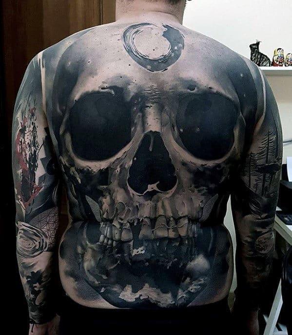 3d Skull Badass Guys Shaded Realistic Back Tattoo