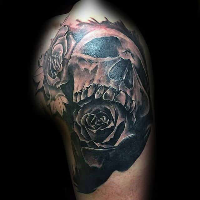 3d Skull Black Rose Upper Arm Male Tattoos