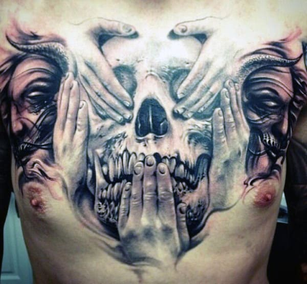 3D Skull Chest Tattoos For Men