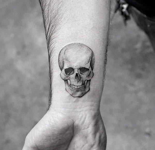 3d Skull Coolest Small Wrist Tattoo Designs For Men