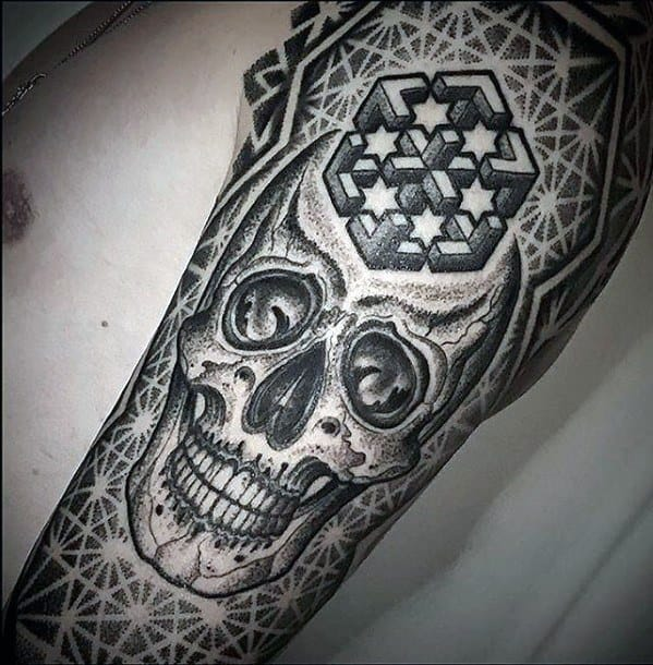 3d Skull Dotwork Geometric Sleeve Tattoos Male