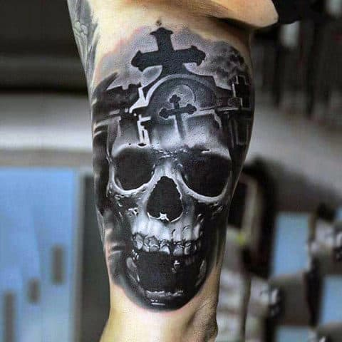 3d Skull Graveyard Cross Stone Mens Bicep Tattoo Ideas