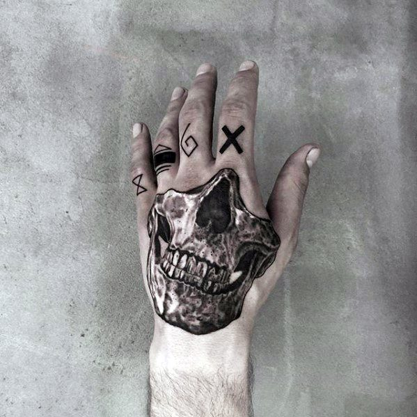 3d Skull Hand Mens Small Detailed Tattoo Design Ideas