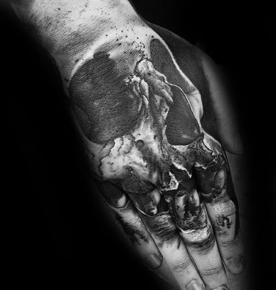 3d Skull Hand Tattoo With Black And Grey Ink Design For Guys