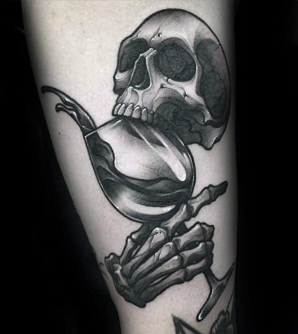 3d Skull Hand Wine Tattoo Ideas For Males On Forearm