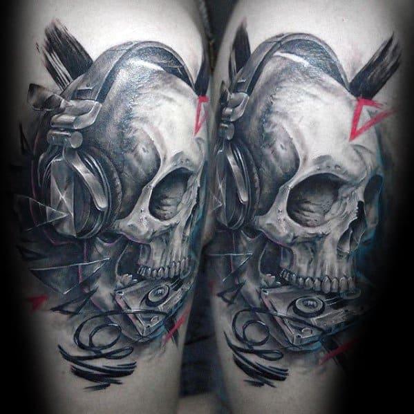 3d Skull Headphones Mens Tattoo Designs