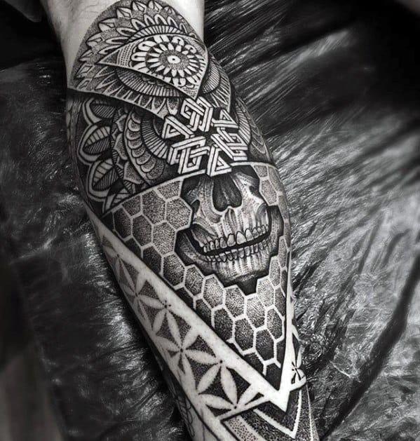 3d Skull Hexagon Flower Of Life Geometric Leg Guys Tattoo Ideas