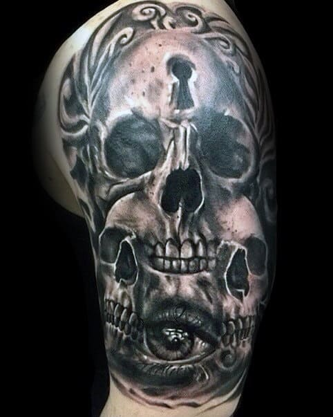 3d Skull Keyhole Guys Half Sleeve Tattoo Designs