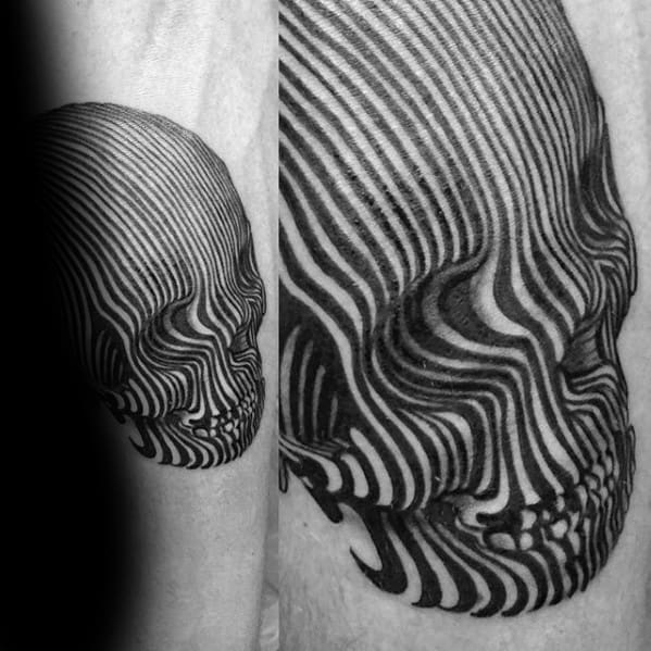 3d Skull Lines Mens Small Unique Inner Forearm Tattoos
