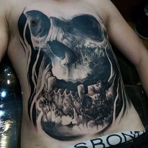 3d Skull Mens Black Ink Chest Tattoo