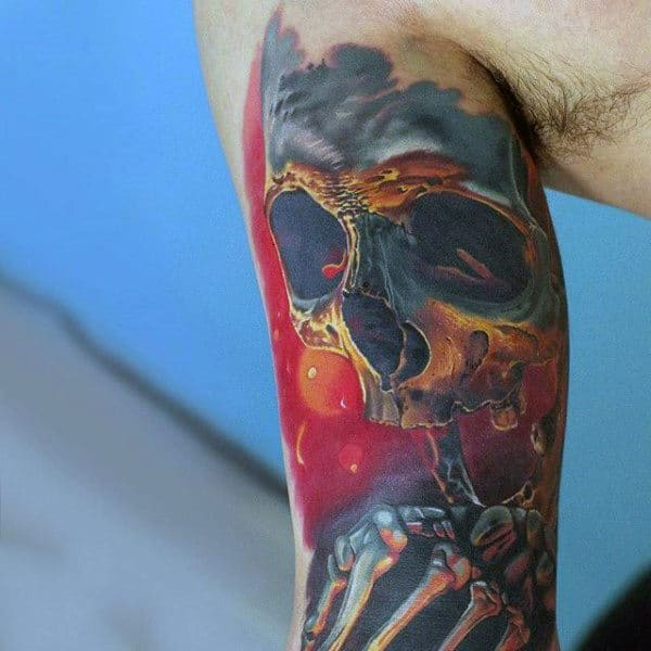 3d Skull Mens Colorful Half Sleeve Tattoos