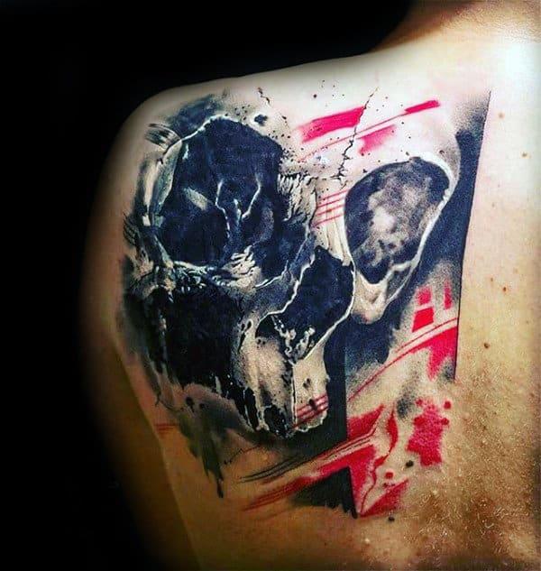 3d Skull Trash Polka Mens Back Tattoo