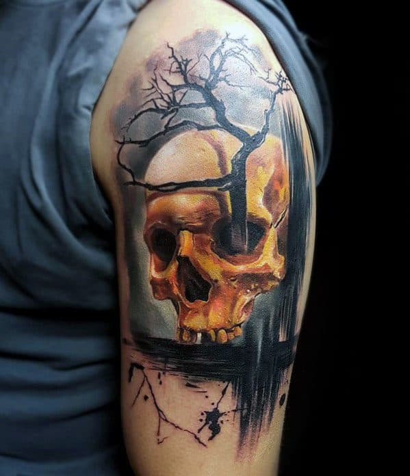 3d Skull Tree Guys Tattoo Ideas On Arm