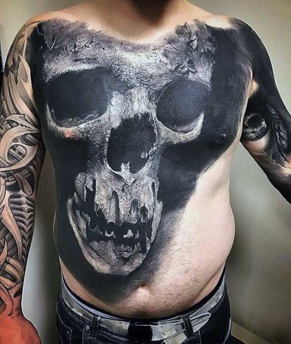 3d Skull Unique Chest Tattoo Design Ideas For Males