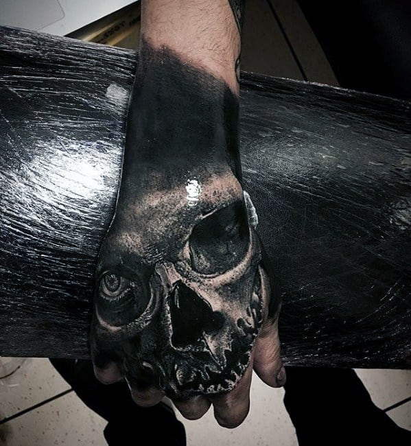 3d Skull Unique Male Hand Tattoo Inspiration