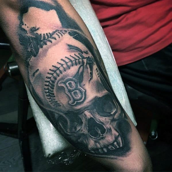 3d Skull With Baseball Mens Manly Boston Red Sox Tattoo Designs