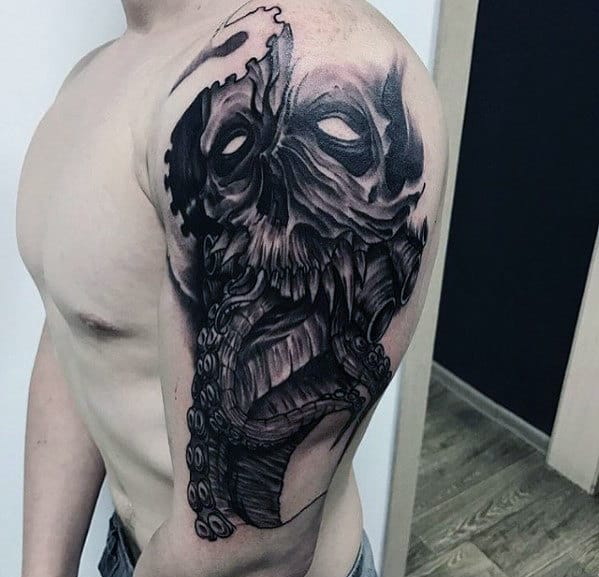 3d Skull With Octopus Tentacles Tattoo On Arm For Men