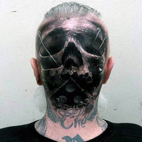 3d Skull With Pins Guys Back Of Head Realistic Tattoo Ideas
