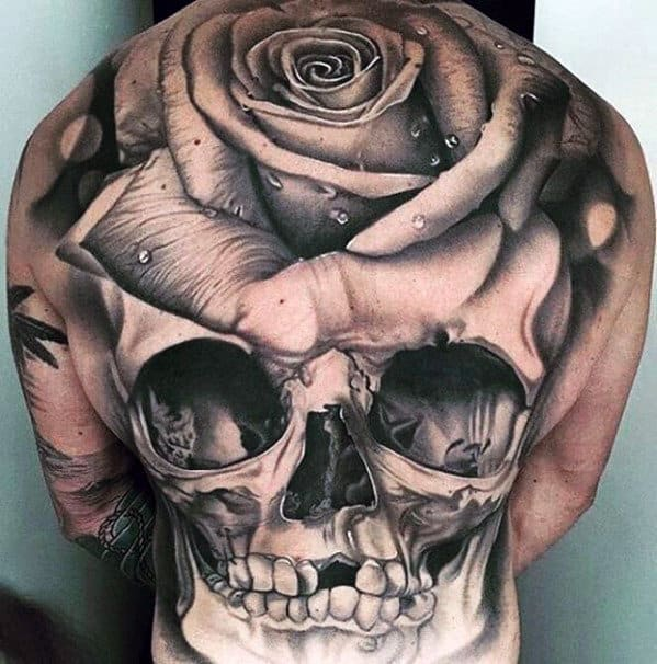 3d Skull With Rose Flower Male Full Back Tattoo Designs