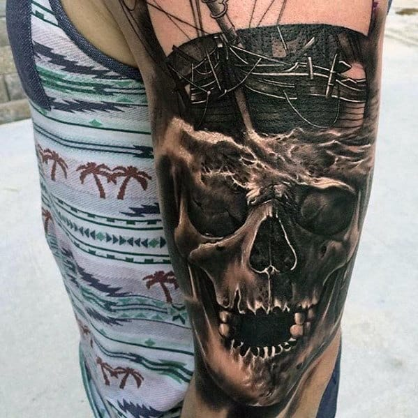 3d Skull With Ship Sweet Arm Tattoos For Men