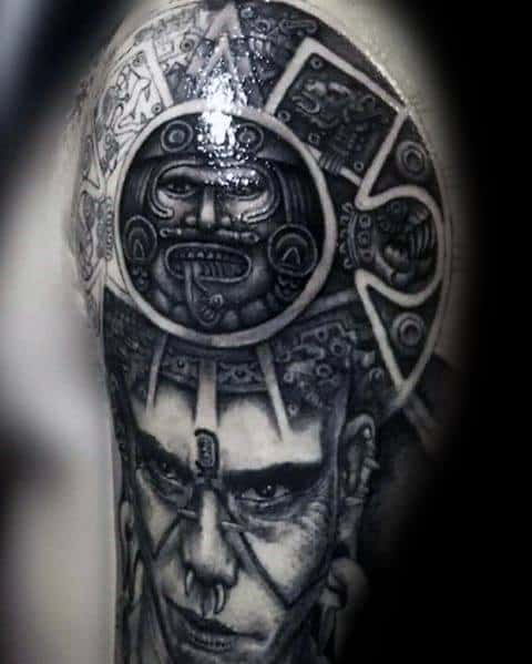 3d Sleeve Guys Mayan Calender Tattoos