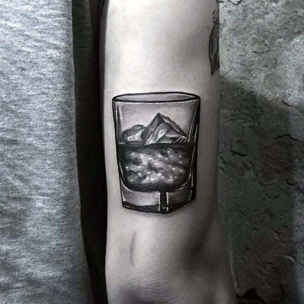 3d Small Detailed Whiskey Glass Mens Tricep Tattoo