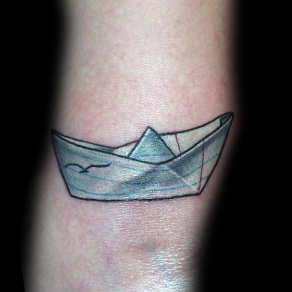 50 Paper Boat Tattoo Ideas For Men – Origami Designs