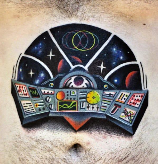 3d Spaceship Control Center Panel Mens Chest Tattoo