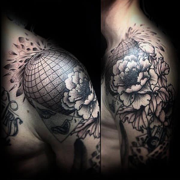 3d Sphere Globe Mens Shoulder Tattoo