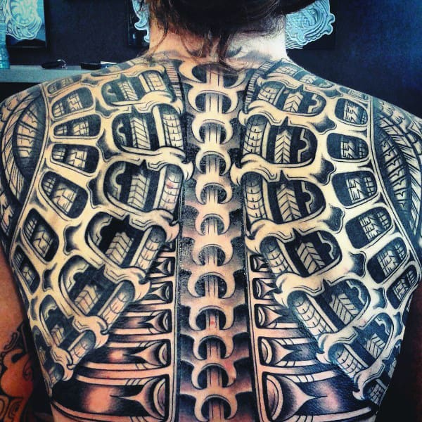 3d Spine Tribal Mens Back Tatto Designs