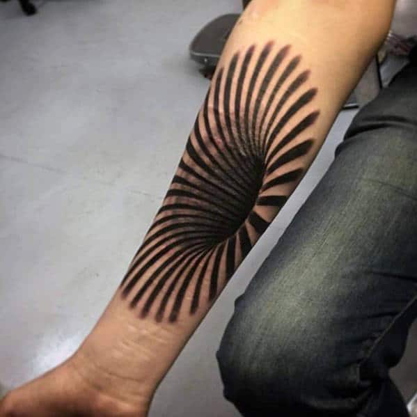 3d Spiral Optical Illusion Mens Black Hole Inner Forearm Tattoo