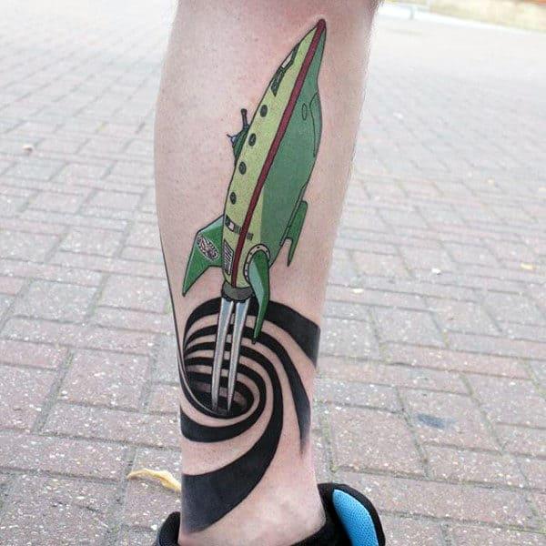 3d Spiral Planet Express Ship Futurama Mens Leg Tattoos