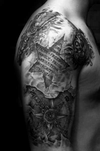 3d Star Tattoo Ideas For Males Half Sleeve