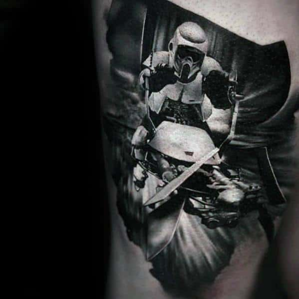 3d Star Wars Stormtrooper Thigh Incredible Male Tattoo Ideas