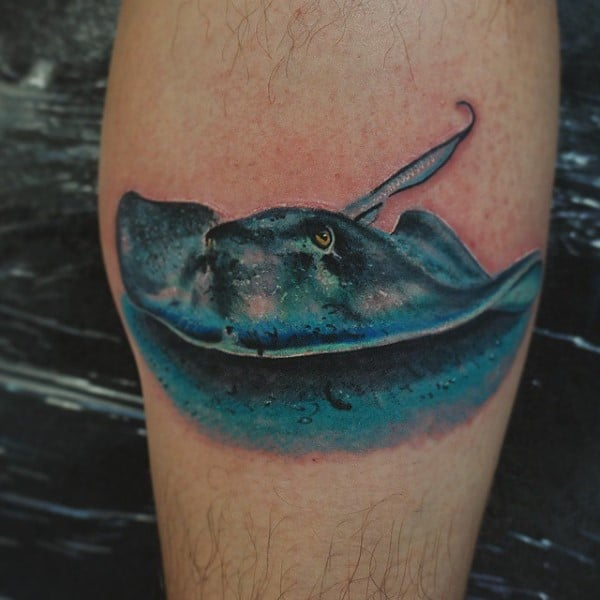 3d Stingray Small Mens Leg Calf Tattoos