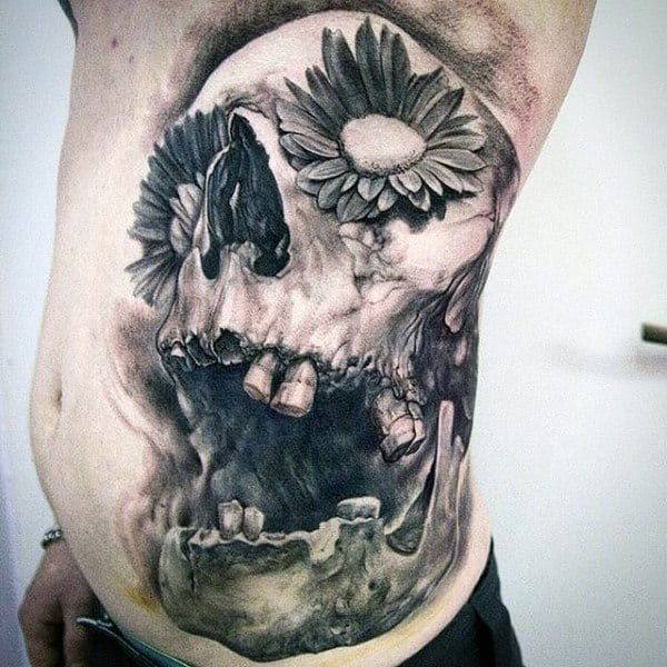 3d Stomach Mens Tattoo Of Skull With Flower Eyes