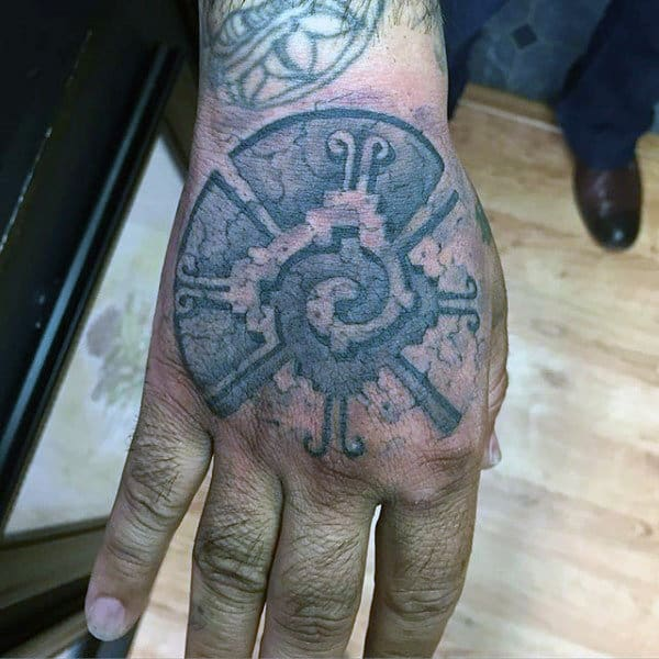 3d Stone Male Mayan Hand Tattoo Ideas