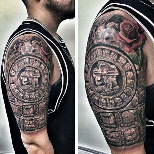 3d Stone Mayan Half Sleeve Tattoo Ideas For Males
