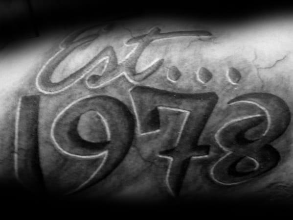3d Stone Mens Est 1978 Arm Tattoo