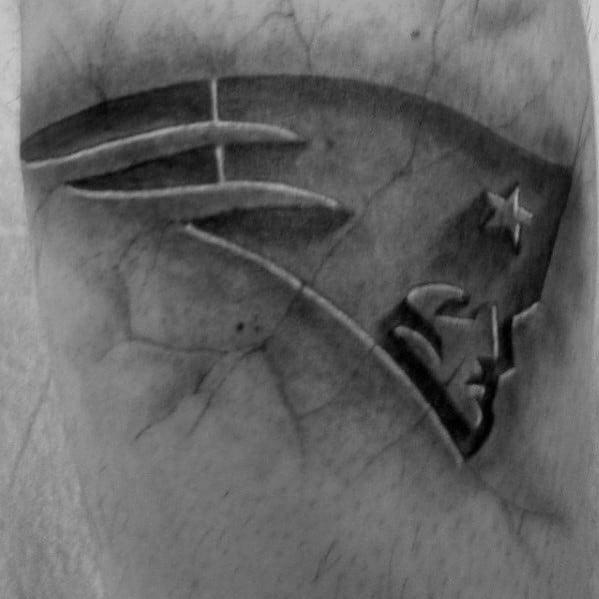 3d Stone New England Patriots Mens Arm Tattoo
