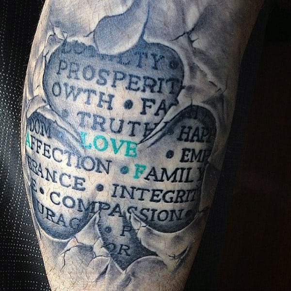 3d Stone Shamrock Tattoos Designs For Guys Quarter Sleeve Ideas