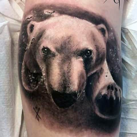 3d Swimming Polar Bear Underwater Mens Arm Tattoos