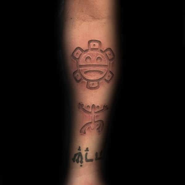 3d Taino Male Tattoo On Inner Forearms