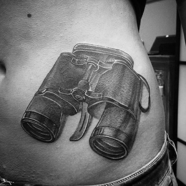 3d Tattoo Binoculars Ideas For Guys On Rib Cage Side