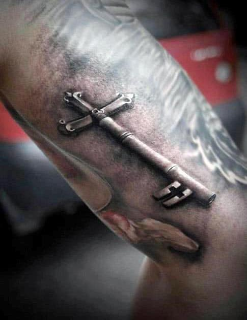 3D Tattoo On Men's Arm Key